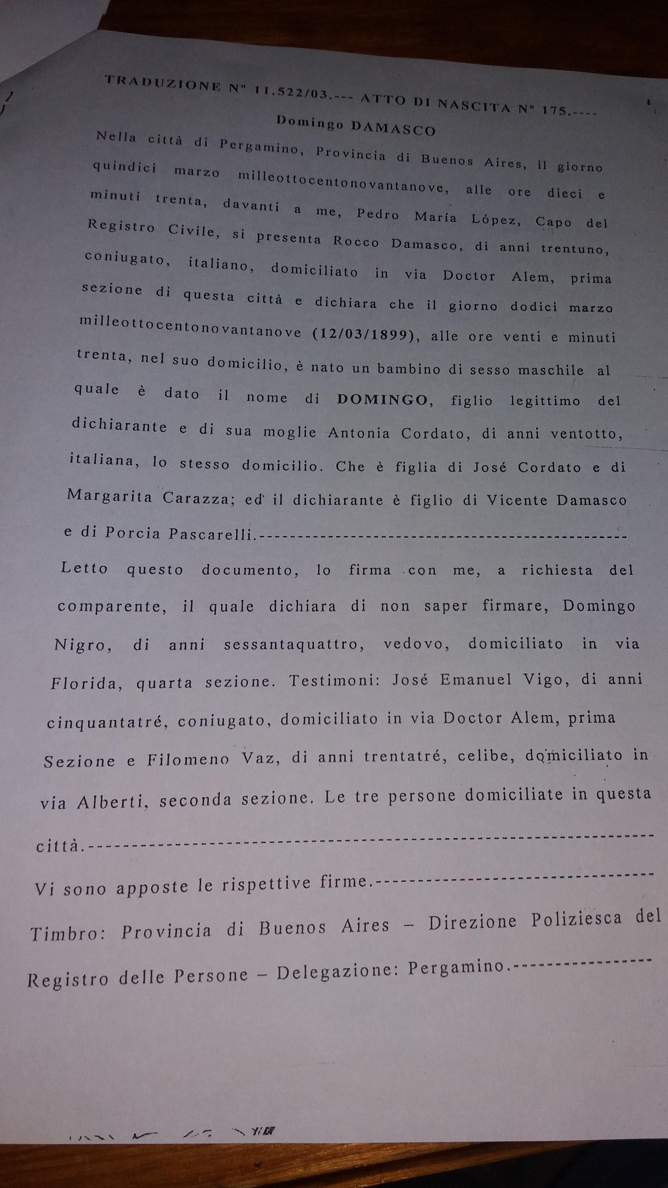 Antonia cordati cordatos of montemurro domingo damasco birth announcement city of pergamino 1899 transcript aiddatafo Gallery