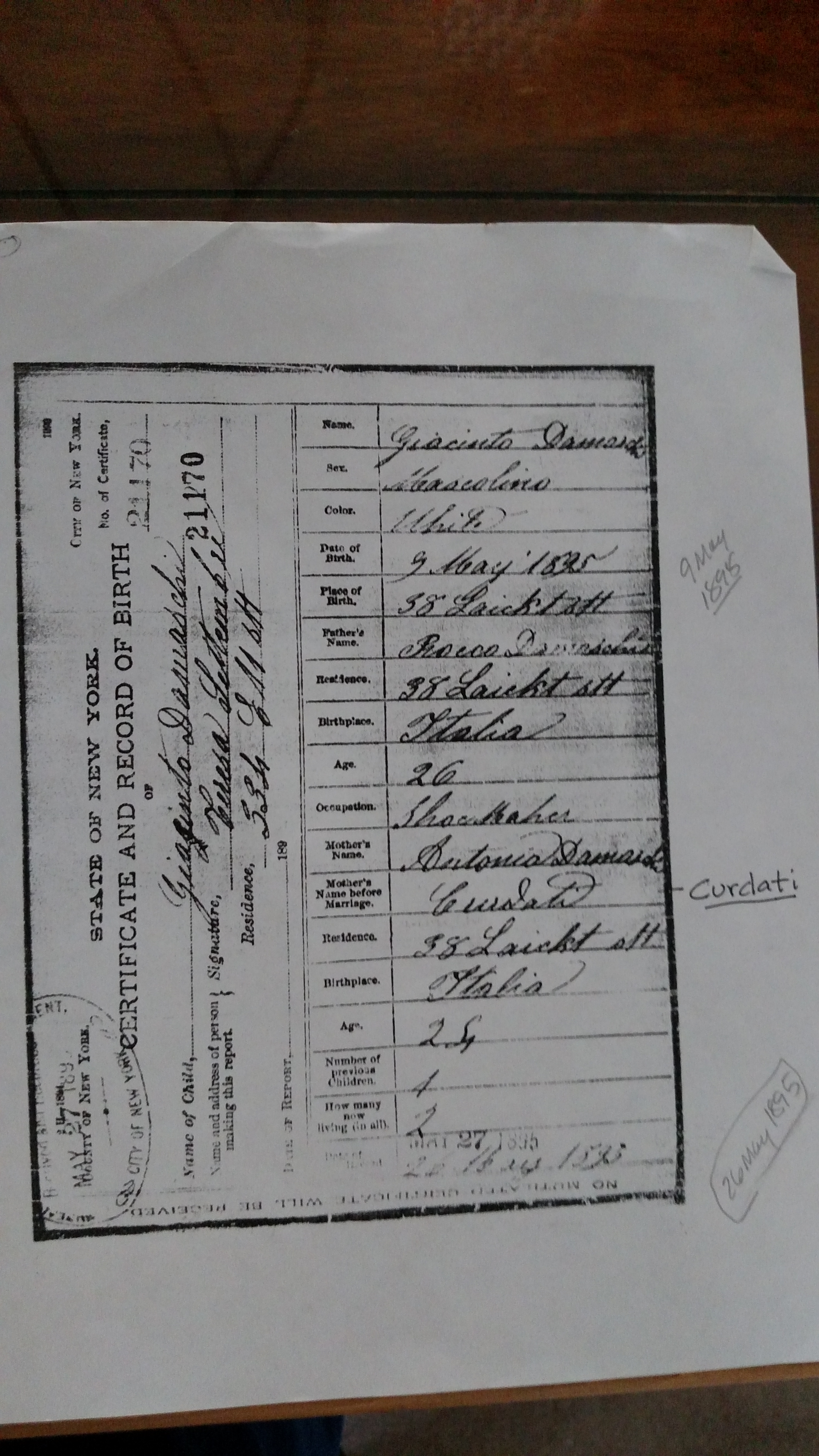 Antonia cordati cordatos of montemurro giacinto birth certificate aiddatafo Gallery